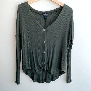 Long Sleeve Front Tie V-Neck Green Shirt / Top